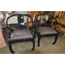 252-Pair of ebonised chinese style chairs