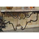 253-Wrought Iron console table, breche d'Alep marble